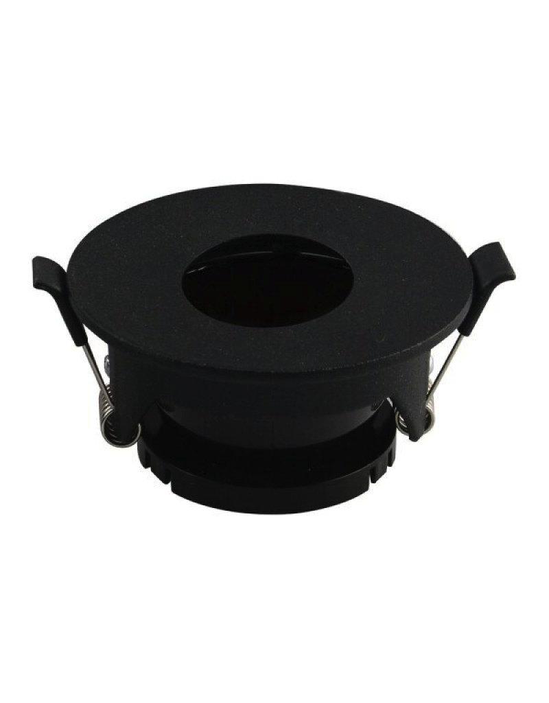 Einbaurahmen für LED GU10 Rund mit rundem Lichtauslass Schwarz