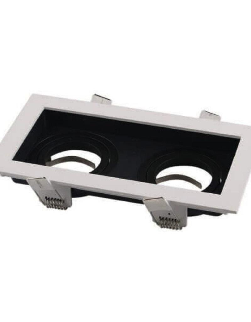 Einbaurahmen Alu für LED GU10 Rechteckig inkl. Fassung 2-fach Weiß/Schwarz