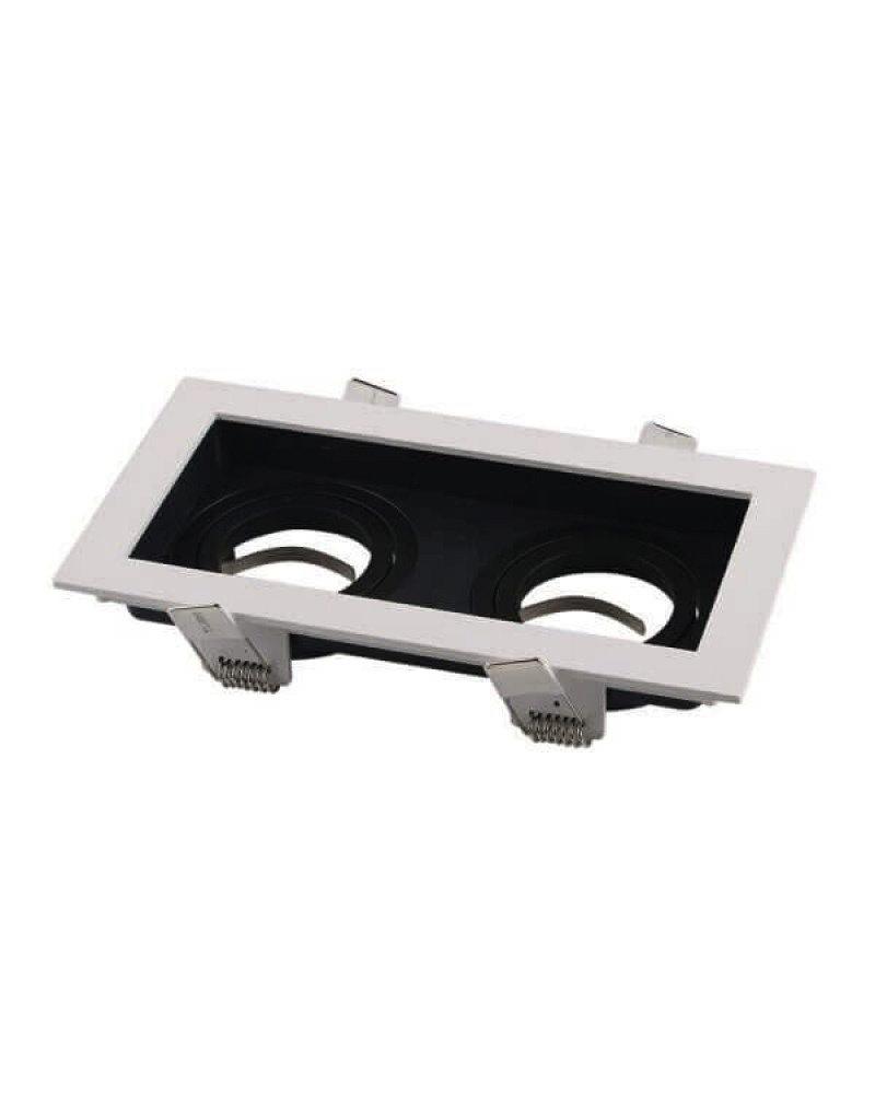 LEDFactory Einbaurahmen Alu für LED GU10 Rechteckig inkl. Fassung 2-fach Weiß/Schwarz