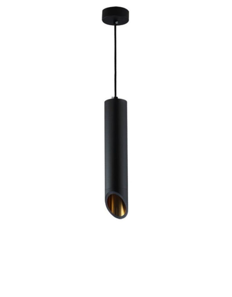 Pendelleuchte Slanted für GU10 30cm Schwarz mit goldenem Reflektor