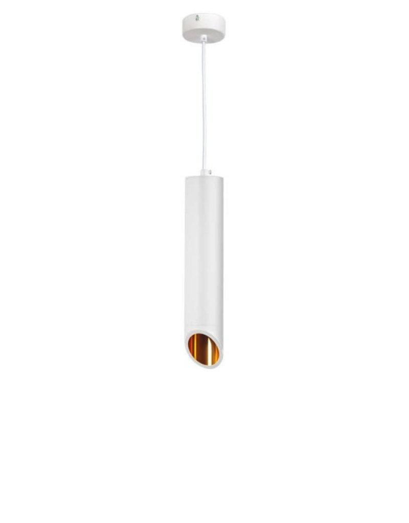 Pendelleuchte Slanted für GU10 30cm Weiß mit goldenem Reflektor