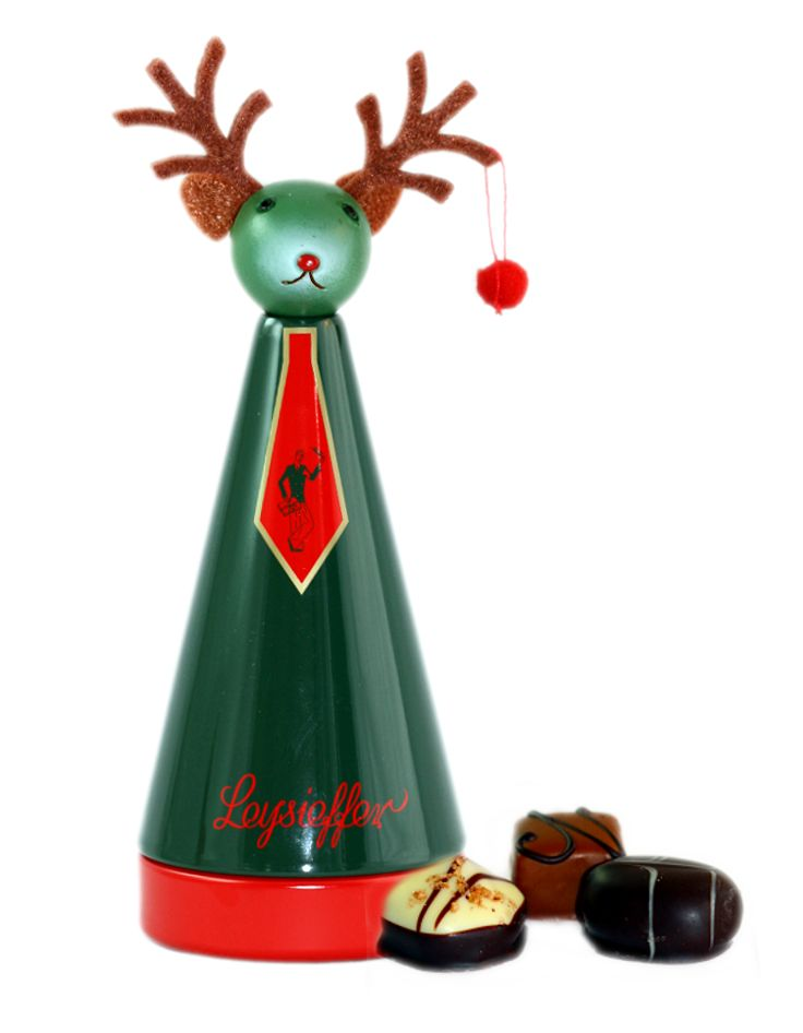 Leysieffer Weihnachtskegel mit Elchkopf, feinen Pralinen ohne Alkohol