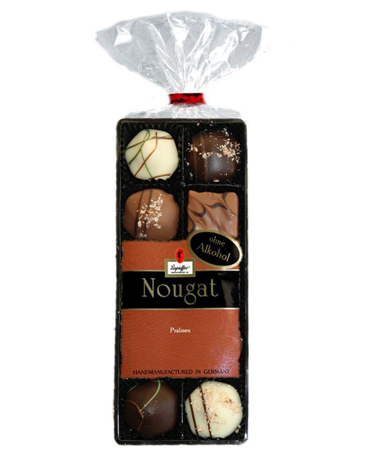 Nougat Pralinen, Vollmilch-, Zartbitter und weiße Schokolade im 100g Beutel, ohne Alkohol