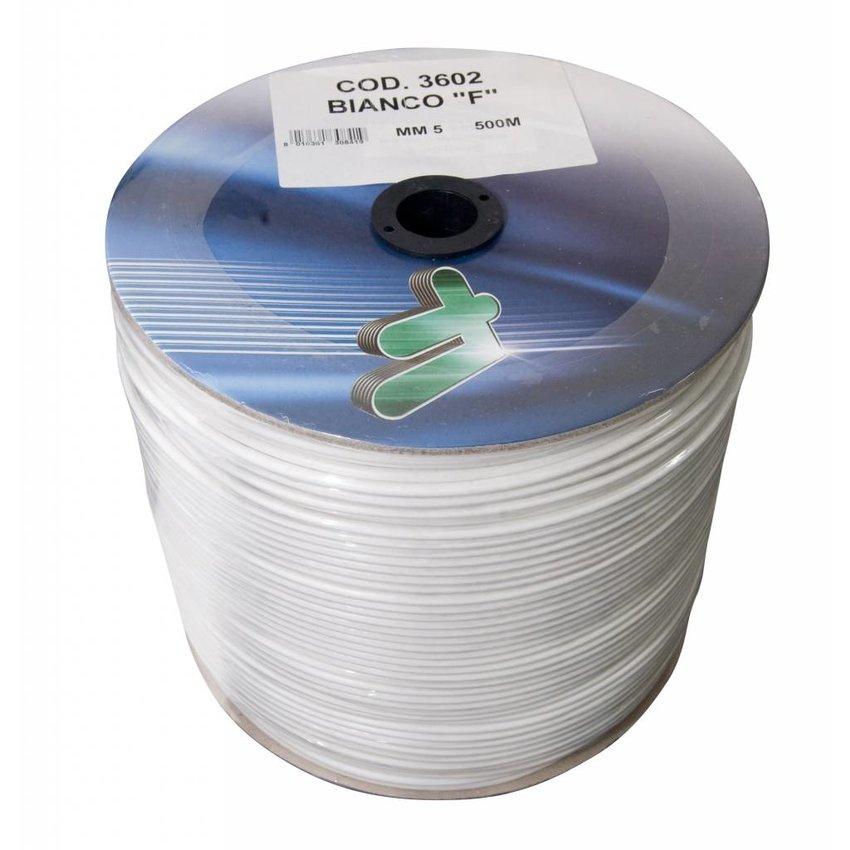 Staaldraad vermessingd wit pvc omspoten 5mmx500meters
