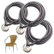 3 Stück Drahtseil mit Vorhänge-Rundschloss mit gleichem Schlüssel 10 meter Diebstahlsicherung für Gartenmöbel / Terrassenmöbel