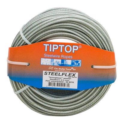 Tiptop Staaldraad - Waslijndraad Drooglijndraad 50 meter waslijn maken