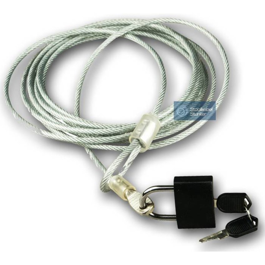Security Kabel 3 meter met hangslot x 4mm dikte