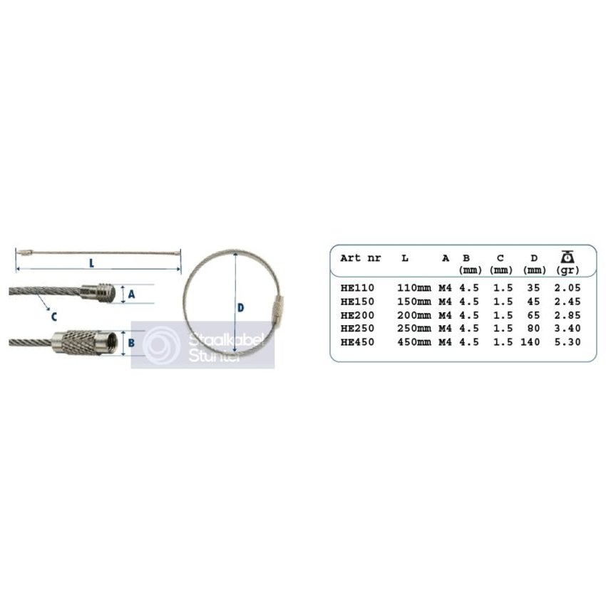 roestvaststaal Staaldraad 450 mm 'armband' Staaldraad sleutelring