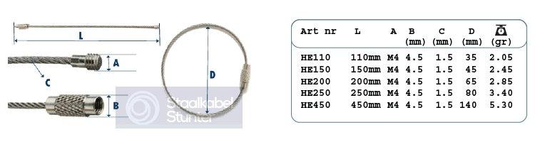 armband afmetingen staaldraad sleutelring
