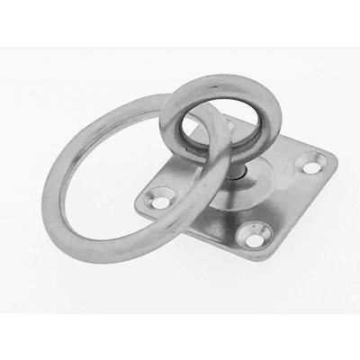 Edelstahl Augplatte mit Wirbel und Ring aisi 304 / A2