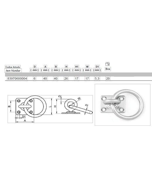 Rvs Oogplaten 40mm met draaibare wartel en ring