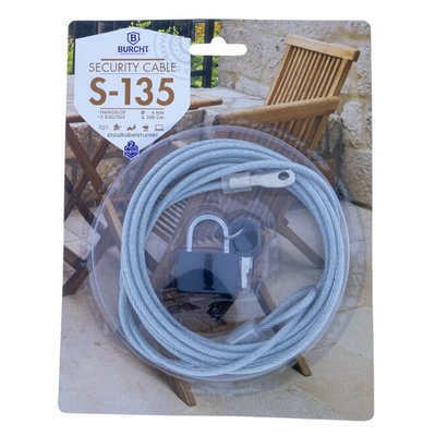 Security cable 3 meter with padlock x 4mm dia