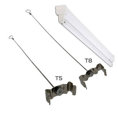 Technx Clips voor TL armatuur  T8 met staalkabel