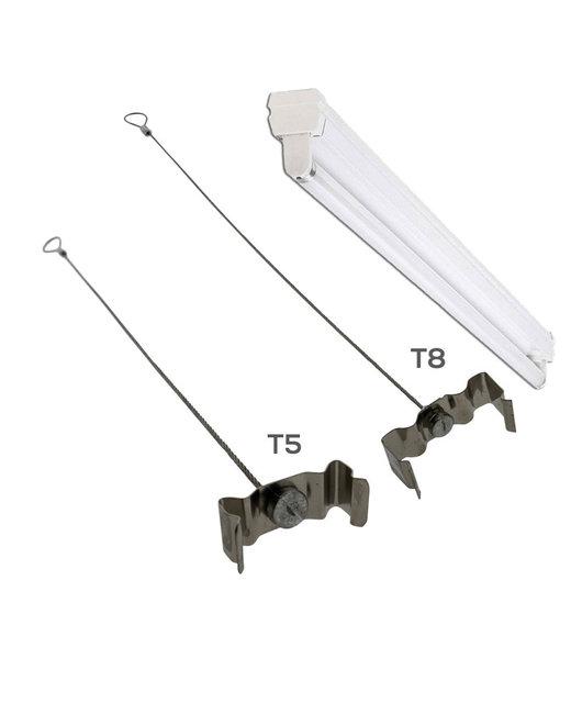 Clips voor TL armatuur  T8 met staalkabel