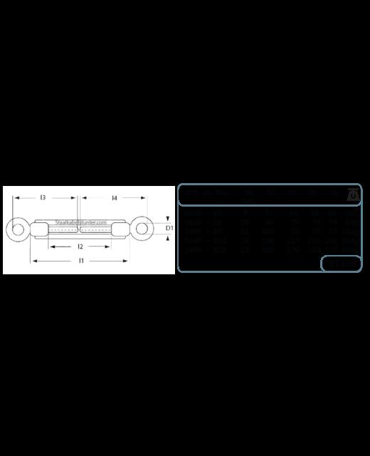 Draadspanner rvs M8 - oog-oog