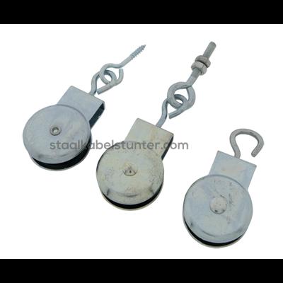 Markisenhangrolle Holzgewinde-Ringschraube Polyamidrad 32 mm  offenes Auge