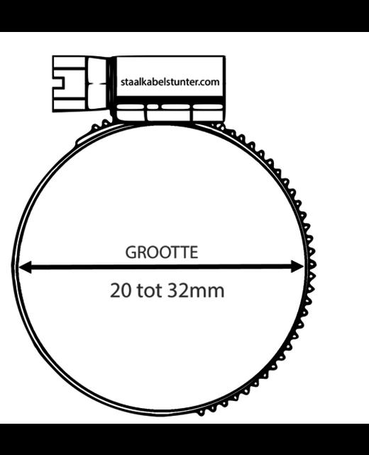 Roestvrijstalen Slangklem 20-32mm DIN 3017