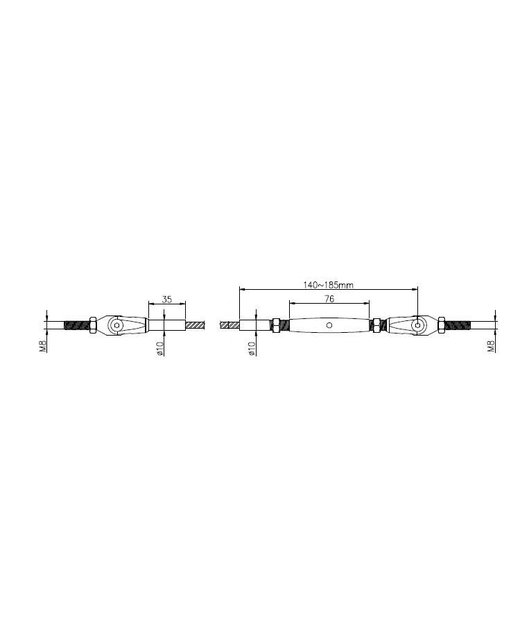 Staalkabel Balustradekit 4mm - Persterminal