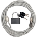 Security Kabel 3 meter met hangslot x 4mm