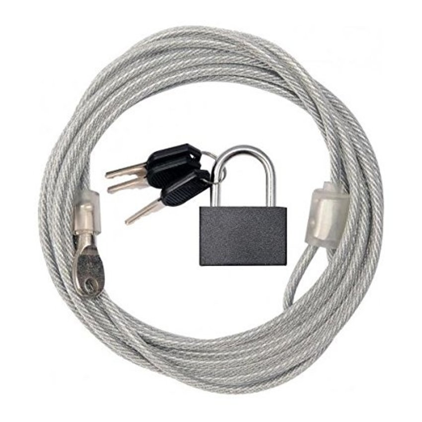 Security cable 5 meter with padlock x 4mm dia
