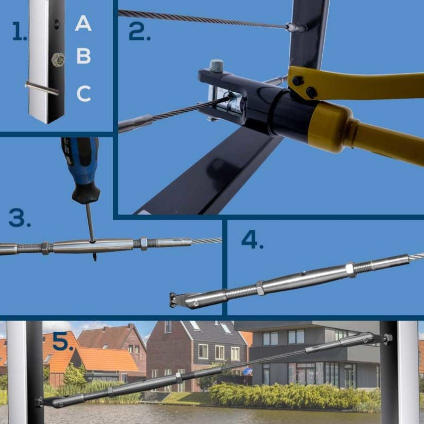 Wire Rope Balustradekit 4mm - press terminal