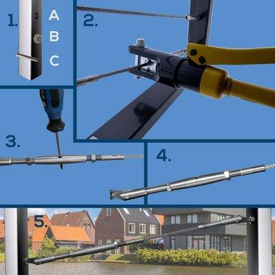 Wire Rope Balustradekit 6mm - press terminal