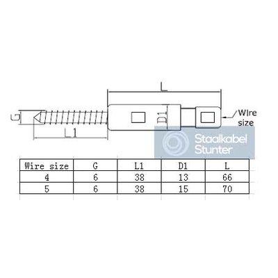 Houtschroef terminalsEdelstahl - 4mm Links WANTSPANNER DICHT, VORK/TERMINAL