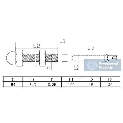Rvs Pers Stud Terminals 3mm Links