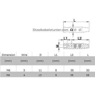 Edelstahl Stud Terminals  Rechts mit imbus