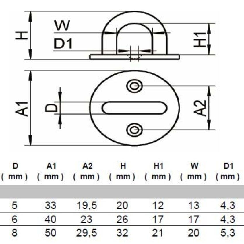 Rvs Oogplaten 33mm x 5mm
