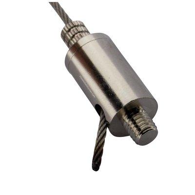 Technx Gripper met fixeerschroef - voor 2.5mm staalkabel met m8 aansluiting en zijuitgang