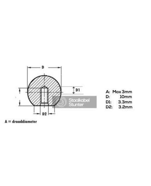 Rvs Eindstoppen Balvormig voor  2 en 3mm staalkabel