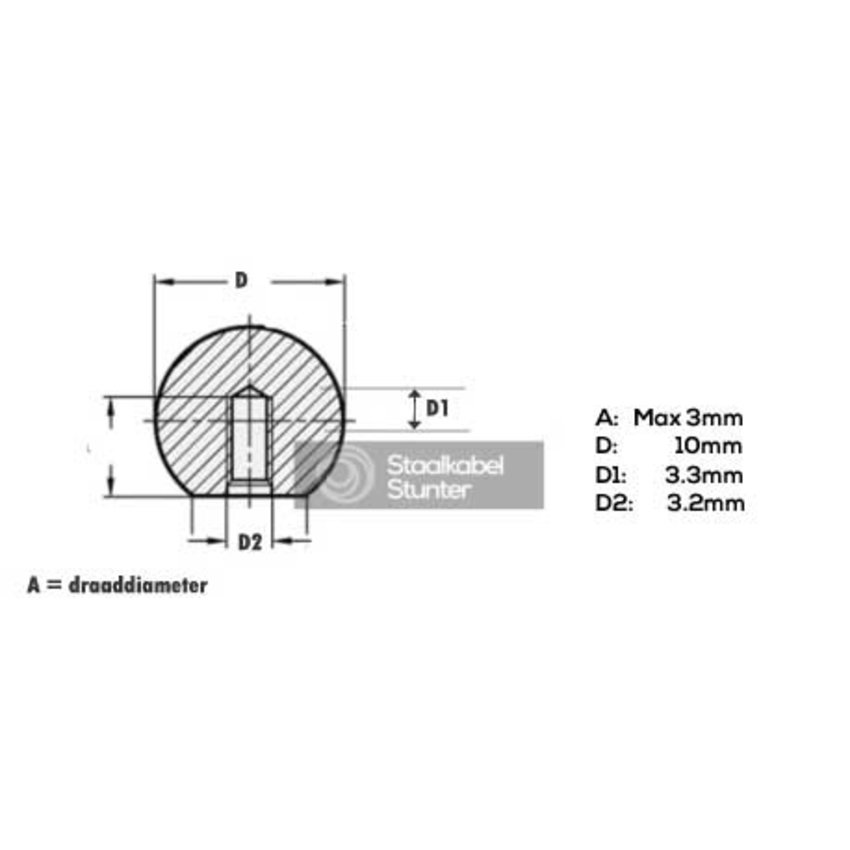 stainless Endstops Ball-shaped for   2 and 3mm Wire Rope