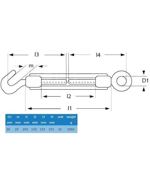 Draadspanner haak en oog M20 - Makkelijk staalkabel spannen
