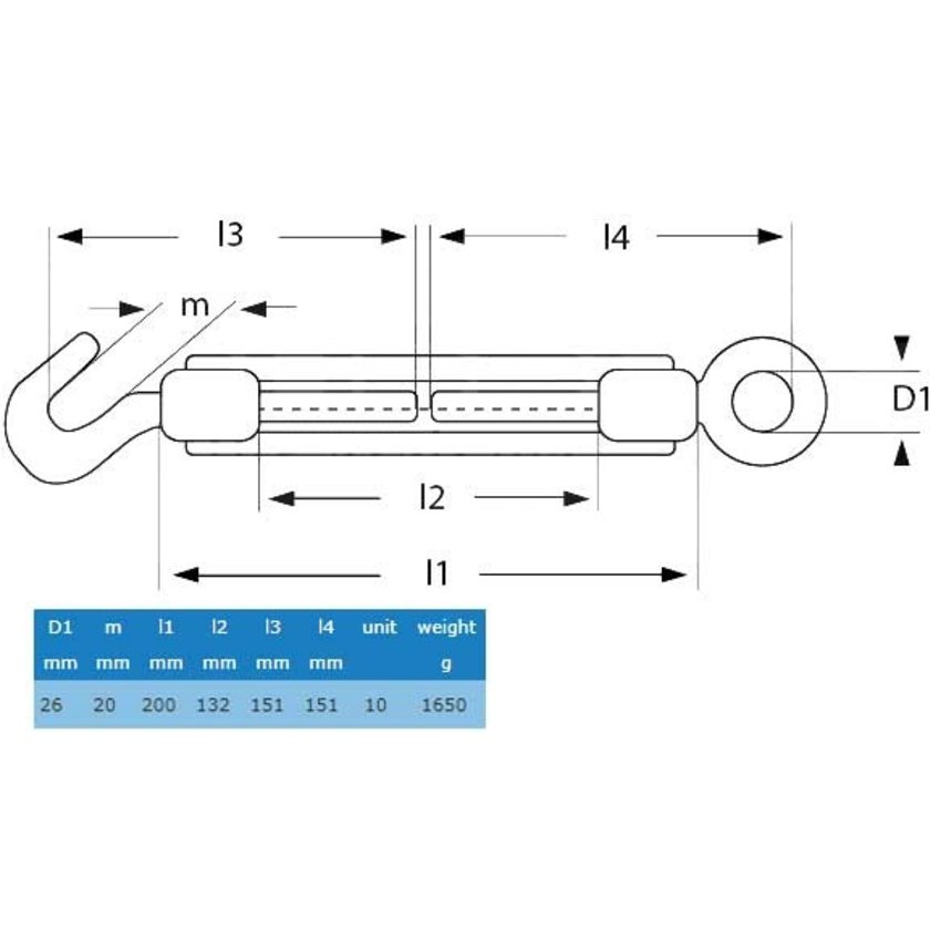 Turnbuckle hook and eye M20 - Easy Wire Rope tighten