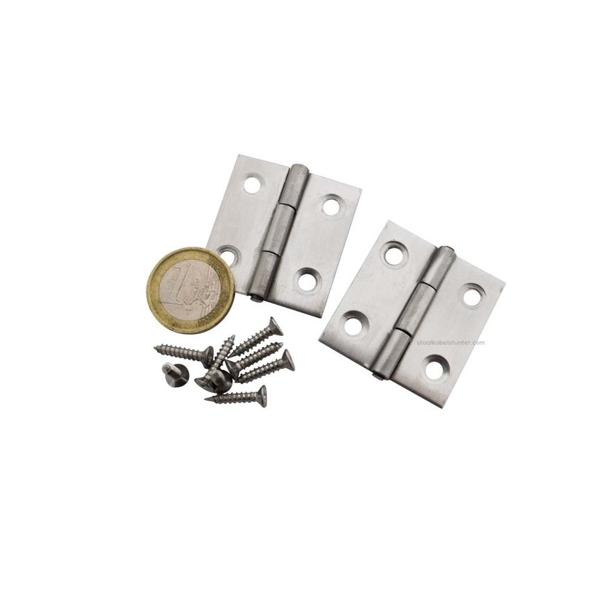 stainless hinges 38x36mm  2 pieces