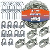 Tiptop Waslijnpakket 30 meter met bevestigingsmateriaal en spanners