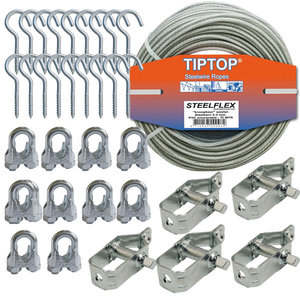 Tiptop Clothes line package 30 meter Cora with fixingsmateriaal
