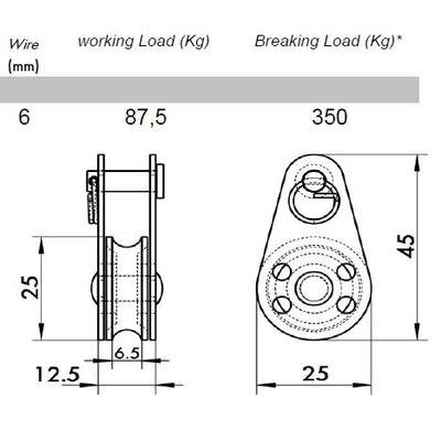 Miniblock mit Kunststoffrolle u. austauschbaren Bolzen, aisi 304 / A2