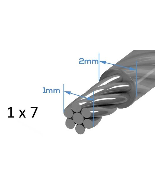 Staalkabel haspel Pvc 20 meter 1-2mm
