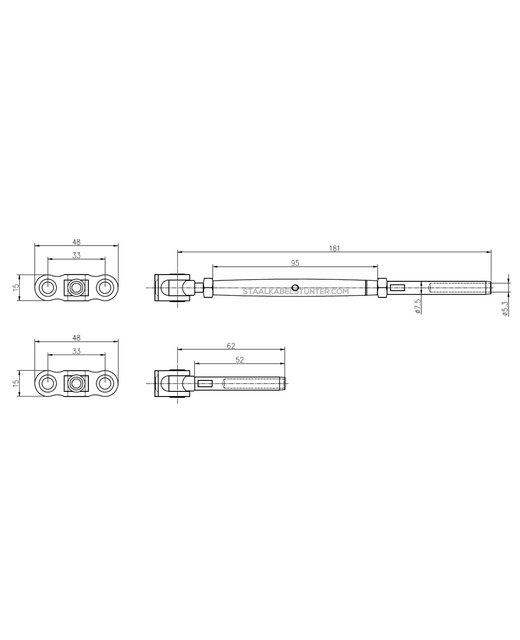 Staalkabel Balustradekit 5mm - Diagonaal Persterminal Hout Voordelig