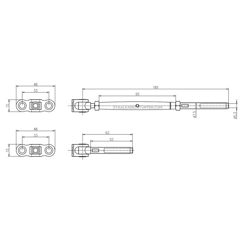 Wire Rope Balustradekit 5mm - diagonal press terminal Wood Affordable