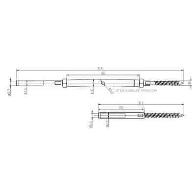 Stahlkabel Balustradekit 5mm - Persterminal Hout Voordelig
