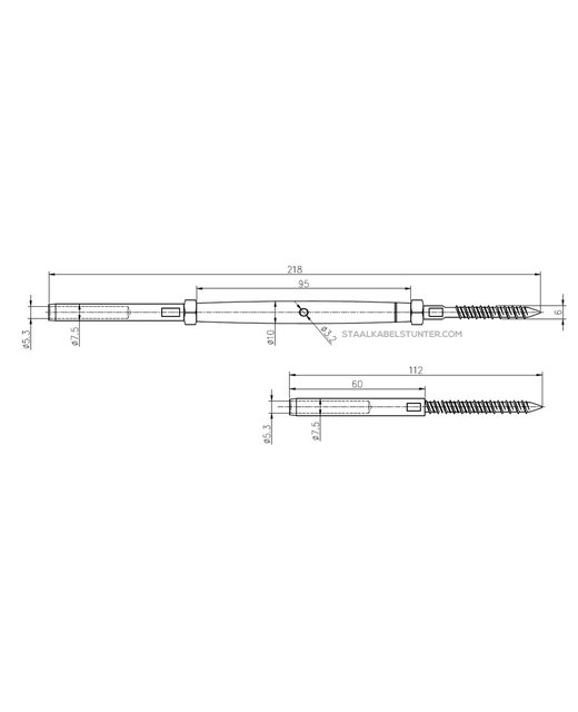 Staalkabel Balustradekit 5mm - Persterminal Hout Voordelig