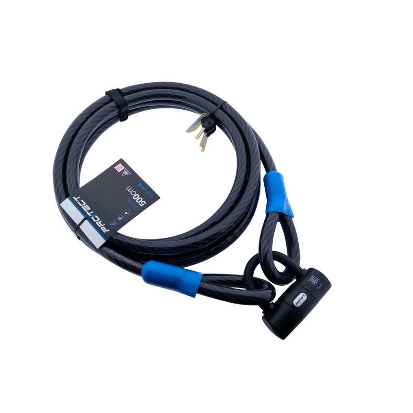 Cablelock Art & VBV tested 5 meters long - with clamp Cobalt