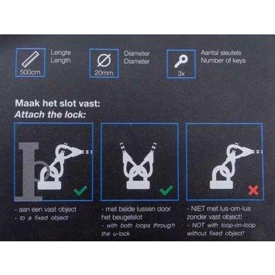 Pro-tect Kabelslot Art & VBV gekeurd 5 meter lang - met beugel Cobalt