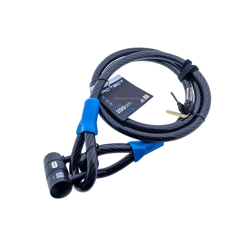 Cablelock Art & VBV tested 2.5 meters long - with clamp Cobalt
