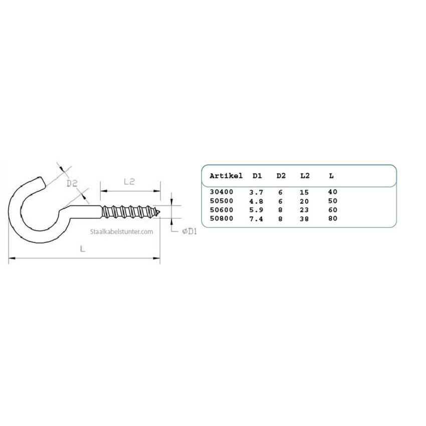 Schroefhaken 60mm - 20 stuks verzinkte uitvoering