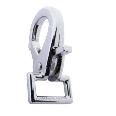 Musketonhaak met rechthoekige clip vernickeld 22mm