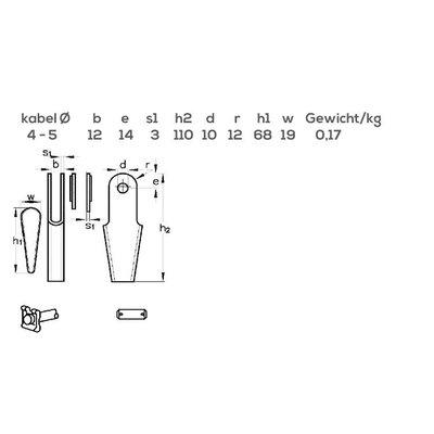 Seilschloss mit Bolzen-Keil und Splint DIN 15315
